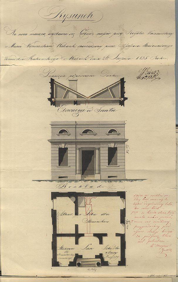 Szkic Rogatki Krakowskiej z 1825 roku
