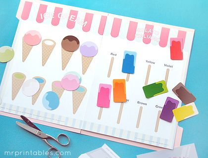 Ice cream file folder games - free printable: Learning Games, File Folder Games, Printables File, File Folder Activities, Preschool Games, Colors Matching, Free Printables, File Folders, Ice Cream Cones