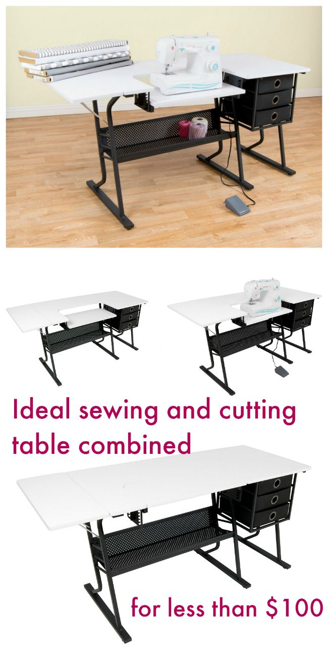 The perfect sewing or quilting table.  Adjustable height space for the sewing machine, and then the table also converts to flat for cutting and laying out patterns.