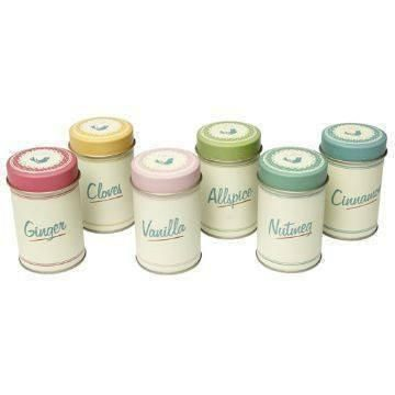 Set Of 6 Retro Spice Tins Pantry Design  #cool #gift #quirky #cheap #mzube #sale #shopping #gifts #presents #birthday   https://www.mzube.co.uk