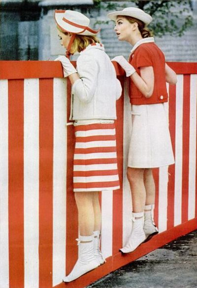 Super charming 1960s red and white summer fashions, complete with darling hats.