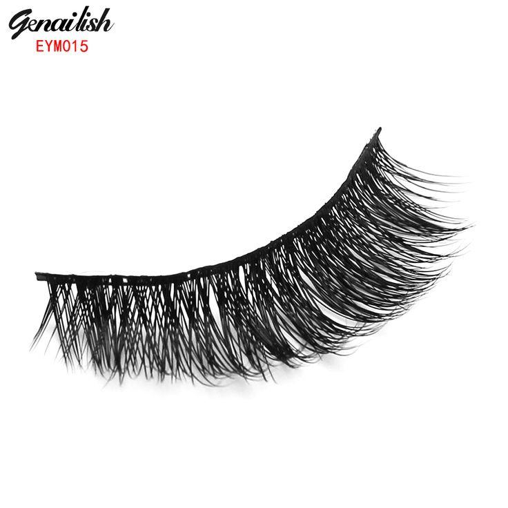 Genailish 1 par de pestañas falsas pestañas de visón pestañas falsas hechas a mano de alta calidad populares para beauty makeup-eym015