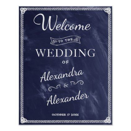 Welcome Sign   Simple Rustic Blue Board Wedding - romantic wedding love couple marriage wedding preparations