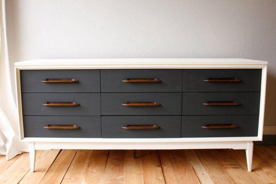 painted midcentury modern dresser credenza by vintagefreshshop 450