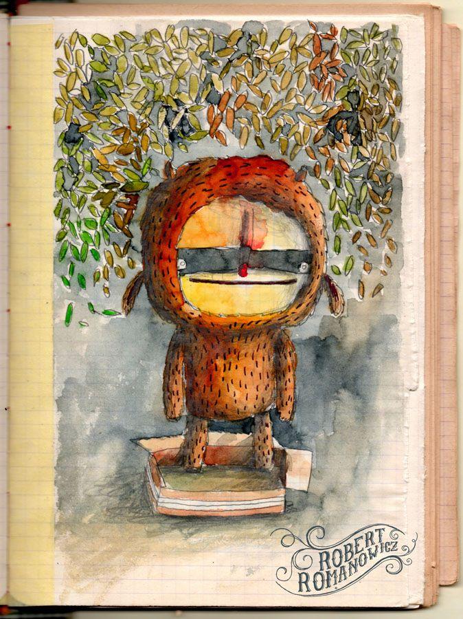 Lu by Robert Romanowicz #sketches #mask #robertromanowicz #rainbow #retro #vintage #oldpaper #forest