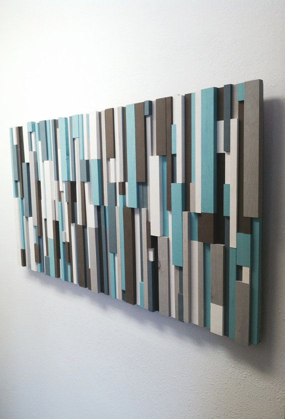 Wood Wall Sculpture - Rustic Wall Art - Modern Wood Sculpture - 'Delilah' is Contemporary Wood Block Art made w/ Hand-Painted Wooden Strips
