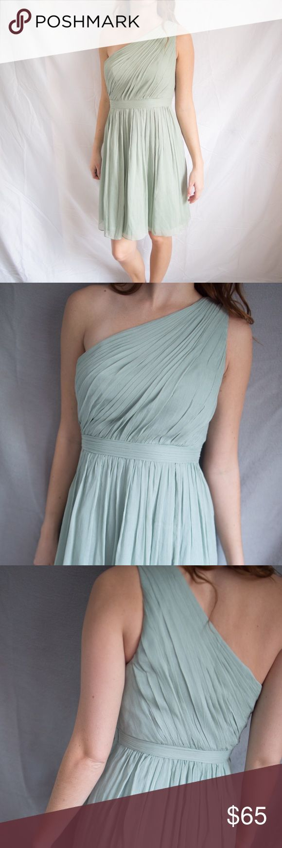 J Crew Bridesmaids Dress One shoulder J Crew Bridesmaids dress. Egg shell color ( light greenish/greyish) Only worn once! Great Condition! Like New! J. Crew Dresses Wedding