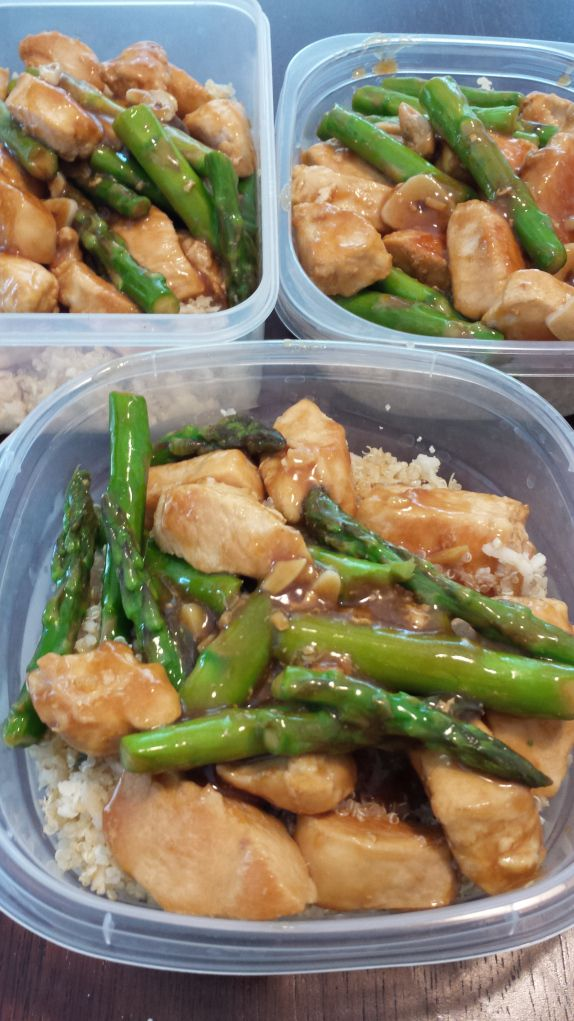 Make Ahead Lunch Recipe-- Lemon Chicken & Asparagus served on top Quinoa and Cauliflower Rice Mixture!