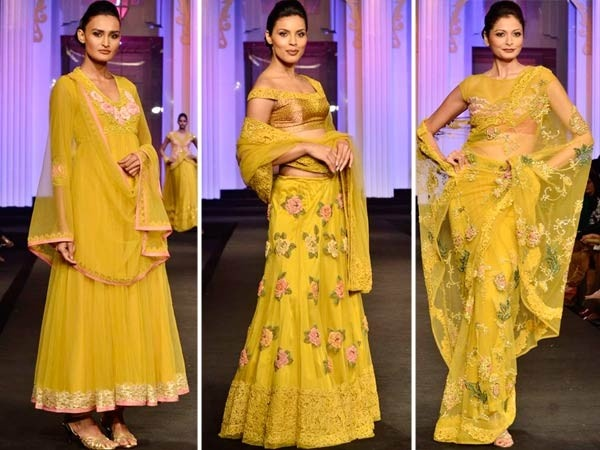 I like the middle one.very nice floral motifs on the lehenga
