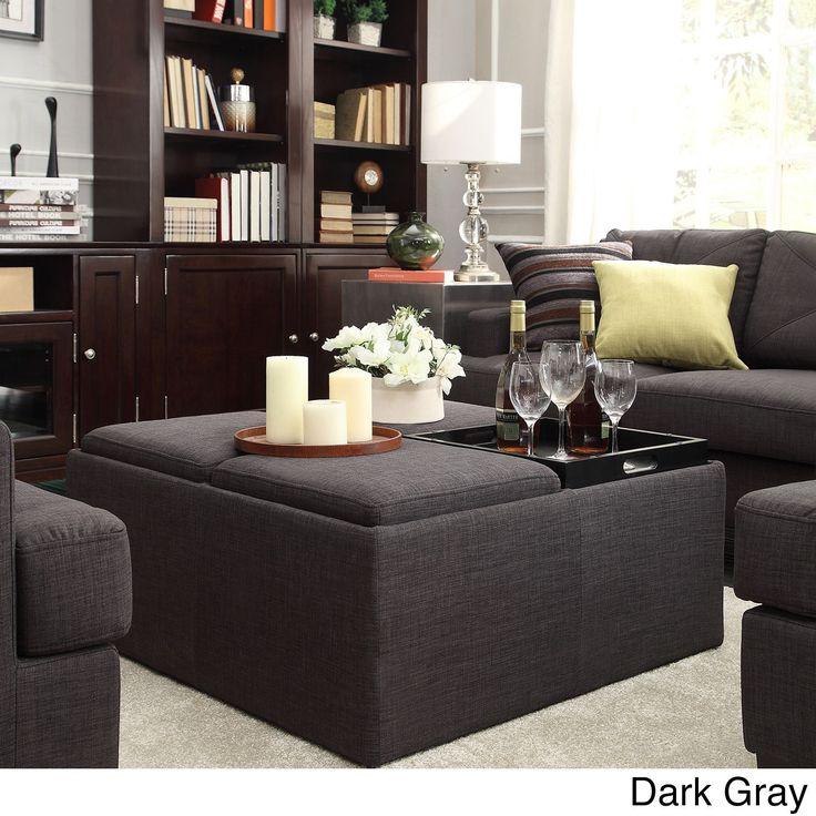 Montrose Dark Grey Storage Cocktail Ottoman by iNSPIRE Q Bold (Dark Grey), Black, Size Large (Fabric)
