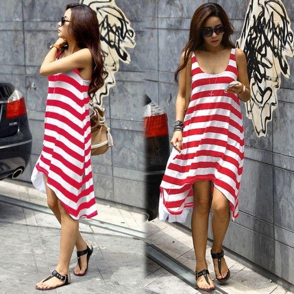 New Fashion Womens Girl Casual Stripe Irregular Beach Dress Sleeveless Sundress