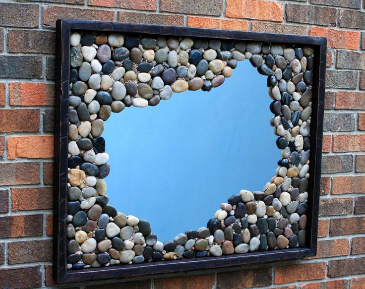 river rock framed mirror reflective pond by natureinspiredcrafts 41000 - Decorated Mirror