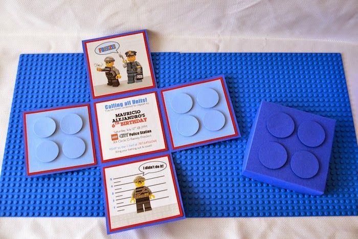 Lego City Police themed birthday party via Kara's Party Ideas KarasPartyIdeas.com Cake, decor, printables, invitation, favors, stationery, and more! #lego #legoparty #policeparty #legocity #karaspartyideas (48)