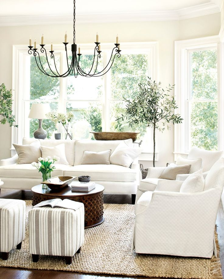 Living Room Design Ideas With Antique Chandelier Combined With Round Table And White Sofa Plus Cushion And Pottery Barn Rug Also Plant | Delcosingles.Com