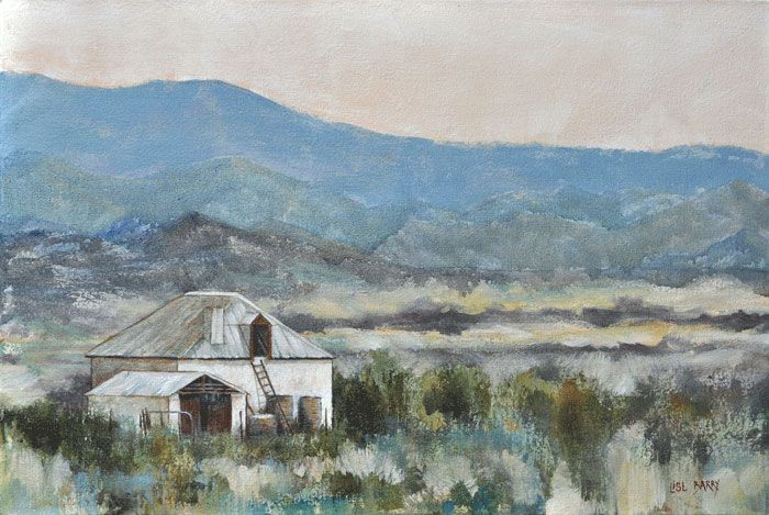 Dusk Melts Mountains   (oil on canvas, 600X400mmX45mm)  by Lisl Barry   www.lislbarry.co.za  Little Karoo landscape