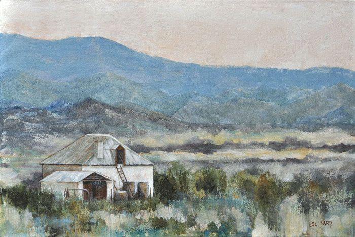 Dusk Melts Mountains   (oil on canvas, 600X400mmX45mm)  by Lisl Barry   www.lislbarry.co.za  Little Karoo landscape