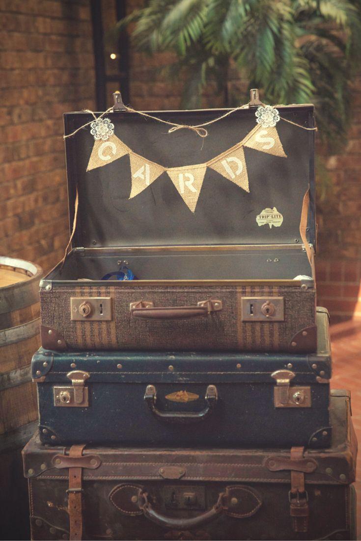 Nicole U0026 Ricku0027s Sunny U0026 Fun Yellow U0026 Grey Winery Wedding. Antique Second  Hand Suitcase