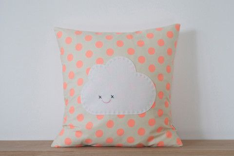 Peach Polka Dot Cloud Cushion http://www.littleandloved.co.nz/collections/accessories-extras/products/peach-polka-dot-cloud-cushion-limited-edition