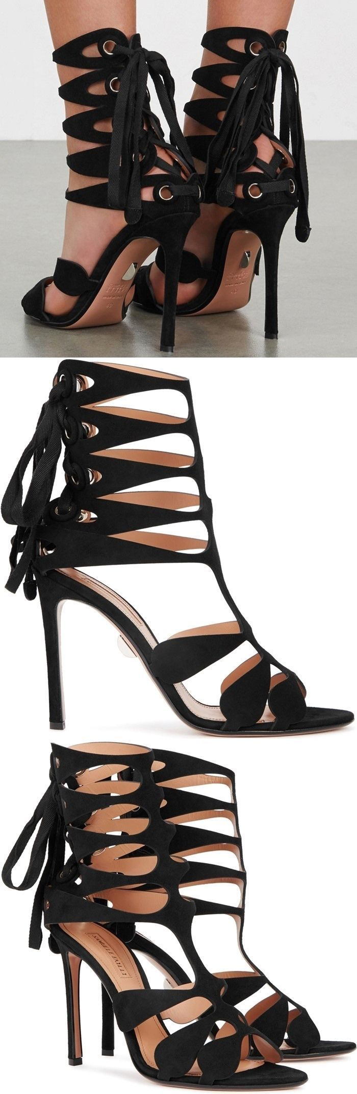 Crafted of black suede, these sandals are styled with cutouts, a lace-up back, and a slim stiletto heel. #stilettoheels2017 #stilettoheelsdress