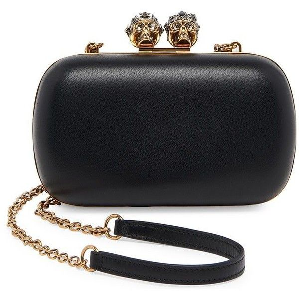 Alexander McQueen Queen & King Skull Clutch ($2,095) ❤ liked on Polyvore featuring bags, handbags, clutches, skull handbag, alexander mcqueen clutches, alexander mcqueen handbags, chain strap handbags and man bag