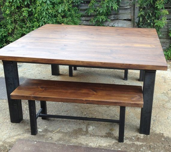 Vintage Industrial Dining Table and Bench Set