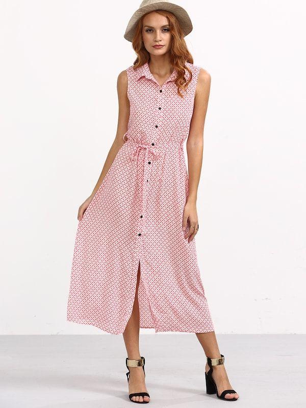 badf80471ba Pink Tie Waist Button Roll-up Collar Sleeveless Dress -SheIn(Sheinside)