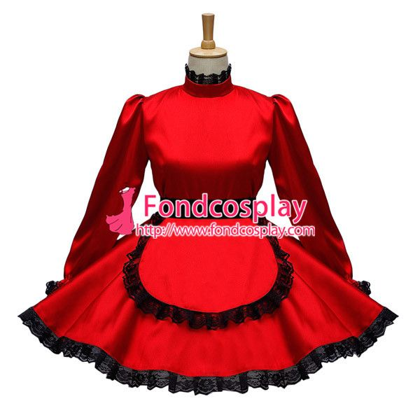 Free Shipping Red Sexy Sissy Maid Satin Dress Lockable Uniform Cosplay Costume Custom-made