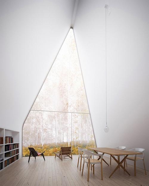 A-frame window, Allendale House, autumn view, white walls.