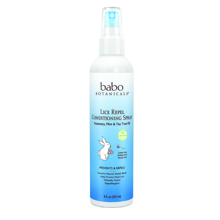 Babo's Lice Repel & Prevention Spray helps repel head lice with a powerful 100% essential oil blend of Rosemary, Tea tree, Thyme and Mint. Perfect to protect against lice at school or camp. Baboês gentle botanical blend is non-irritating for daily use and detangles, smoothes and conditions hair. This spray works for the entire family.