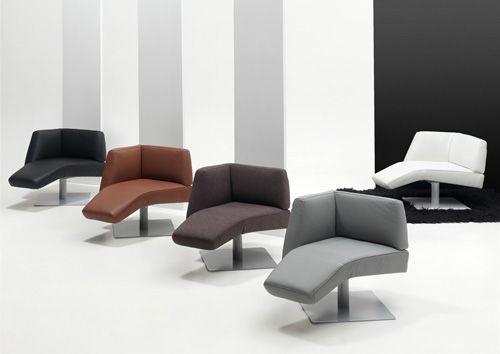 Salons - Evo - Design bijzetzetel op draaivoet. <br> Kan met armleuning links of rechts, en in stof, lederlook of leder.