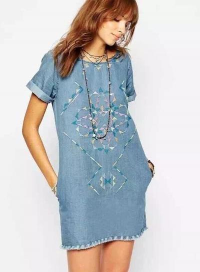#BFCM #CyberMonday #Oasap.com - #Roawe Women's Pattern Embroidery Loose Denim Dress - AdoreWe.com