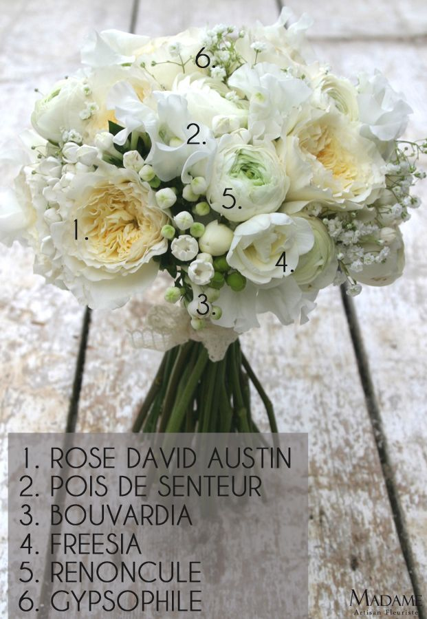 Bouquet De Mariee Blanc #15: Bouquet De Mariee Blanc Renoncule Et Pois De Senteur Par Madame Artisan  Fleuriste - La Mariee