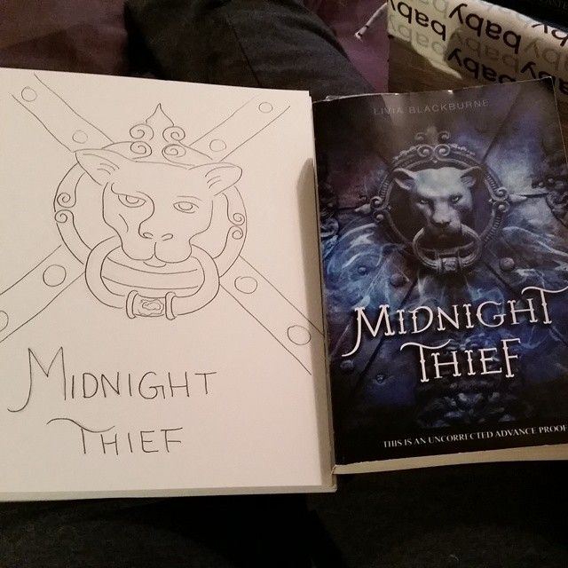 A line drawing of Midnight Thief's cover, from  Pabkins.  http://instagram.com/pabkins