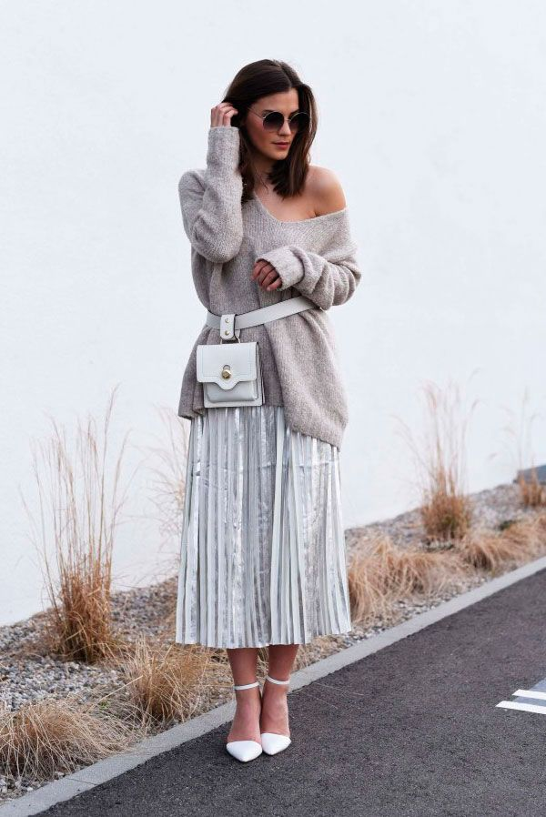 Grey oversized sweater, silver pleated midi skirt, white heels, white belt bag - Fanny pack, fanny pack outfit, belt bag, belt bag outfit, fashion trends 2018, fashion, fashion 2018, street style, casual outfit, chic street style outfit, fall outfit.