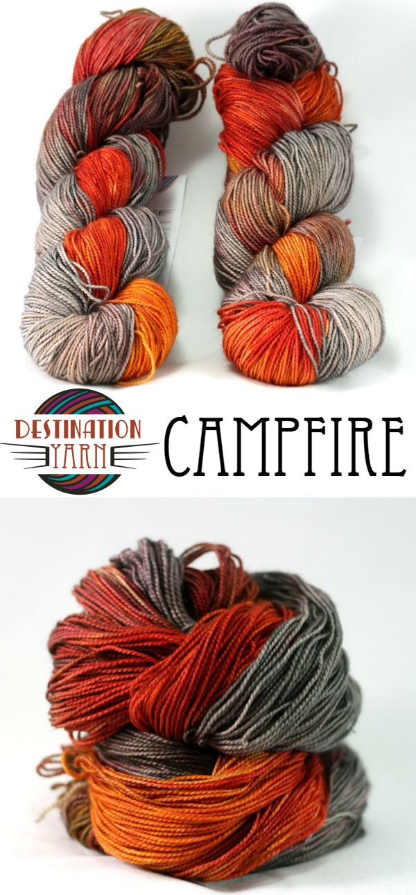 Bring the glowing colors of a campfire to your needles with this hand-dyed yarn! Fingering/sock weight yarn for knitting, crochet, and yarn crafts.