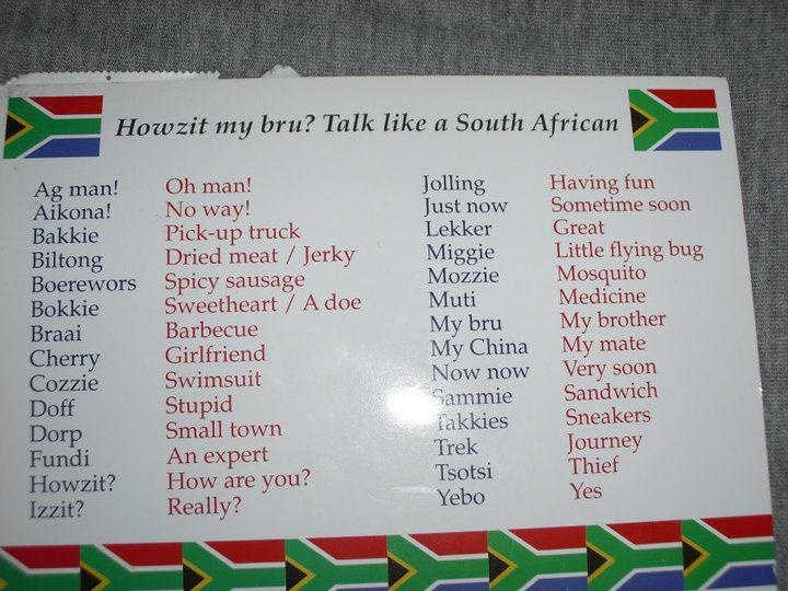 How to talk South African...