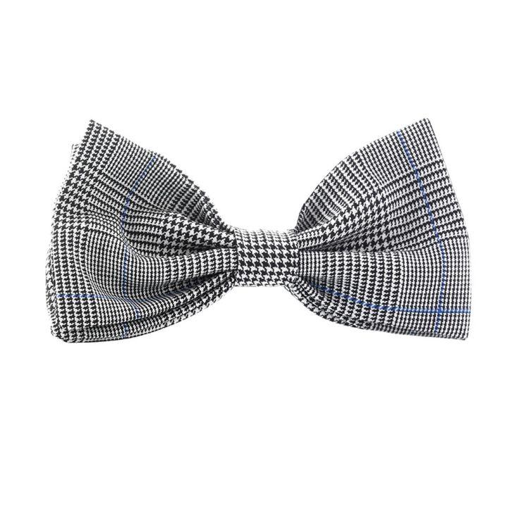 PAPILLON CYBO  Papillon in lana, tessuto con trama principe di galles, motivo grigio-nero-bianco con righino blu elettrico.