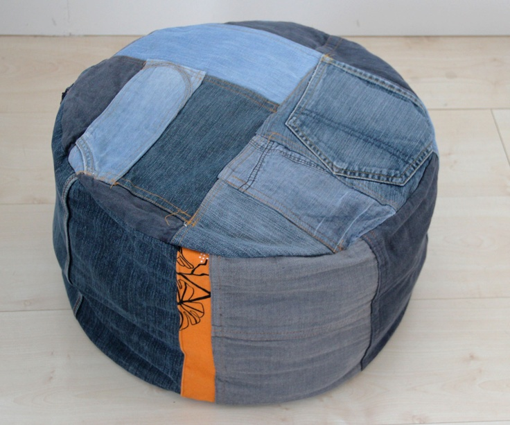 Pouf made of old jeans.