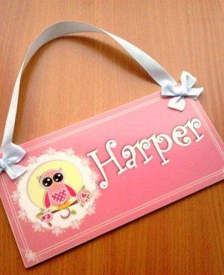 Lovely pink owl girls door sign – kids nursery room decor – owl plaque personalised