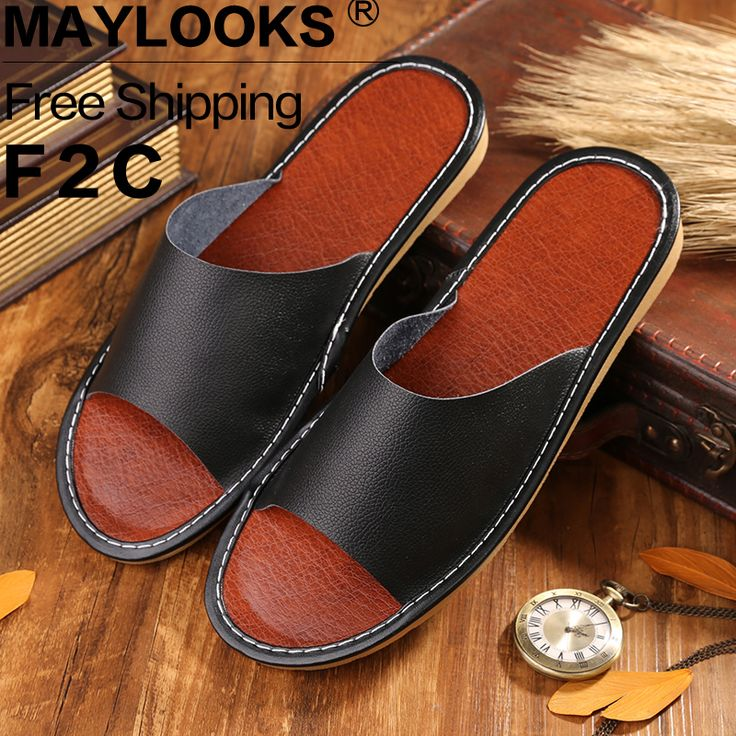 Leather Men Slippers Summer Home Slippers High Quality Men Shoes Home Floor Shoes  8811