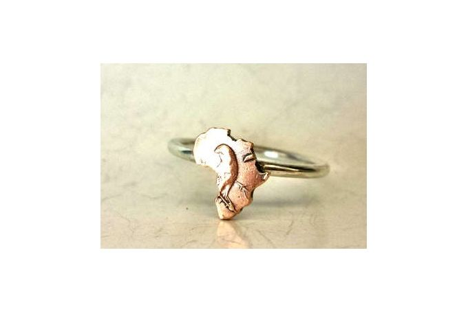 Coin Series - Ring : Old 1/2c - Africa on Sterling Silver Band by Kallie on hellopretty.co.za