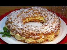 Corona de Navidad (París Brest relleno de crema de turrón) - Recetas de cocina, paso a paso - YouTube