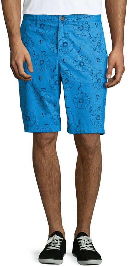 $42, Penguin Floral Print Straight Leg Shorts Brilliant Blue. Sold by Last Call by Neiman Marcus. Click for more info: https://lookastic.com/men/shop_items/262967/redirect