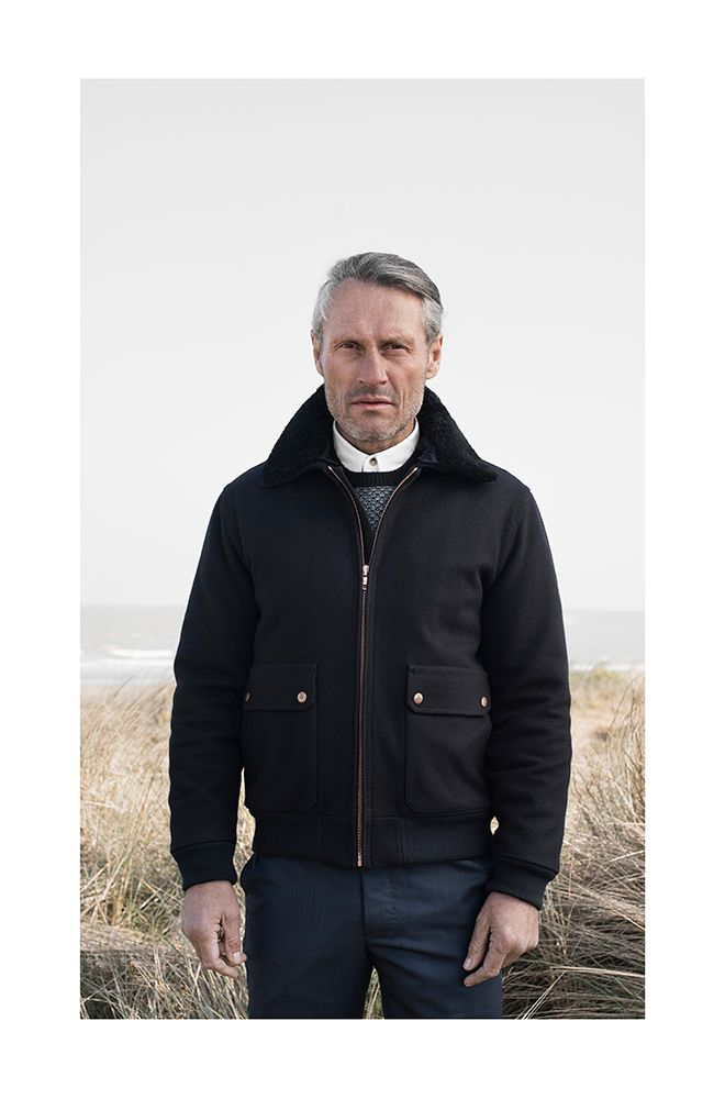 Private White V.C. Pilot's Bomber AA0738 / Navy. Bréidín Crew Neck Knit AA0800 / Black & Grey. Cambridge Button Down Shirt AA0598 / White. Sunday Best Trousers AA0753 / Navy.