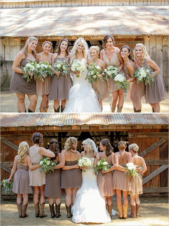 Brown bridesmaid dresses @weddingchicks