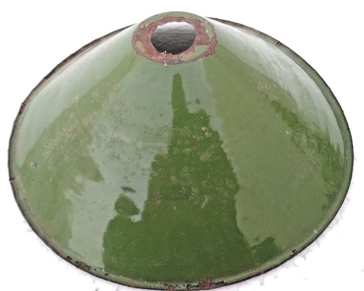 VINTAGE ORIGINAL OLD IRON PORCELAIN ENAMEL GREEN LAMP SHADE