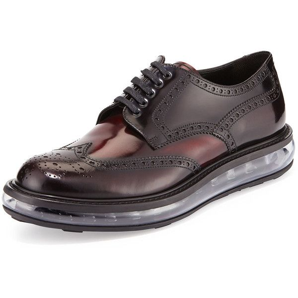 Prada Levitate Leather Wing-Tip Derby Shoe (€720) ❤ liked on Polyvore featuring men's fashion, men's shoes, men's oxfords, dark red, men's shoes lace up shoes, mens shoes, mens leather lace up shoes, prada mens shoes and mens leather derby shoes