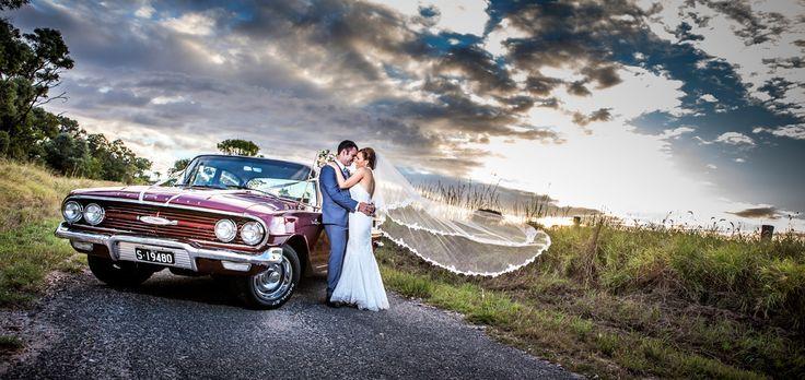 Sunset + wedding car + Bride & Groom Salt Studios| Toowoomba Wedding and Commercial Photography