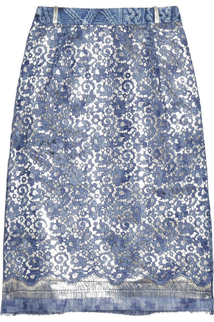 Preen Eva metallic cotton-blend and lace skirt