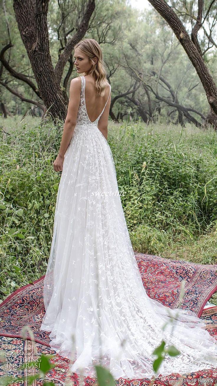 Romantic Limor Rosen 2017 Sheath Wedding Dresses Deep V-Neck Sheer Straps Heavy Embellishment Lace Vintage Garden Beach Bridal Gowns Bohemia